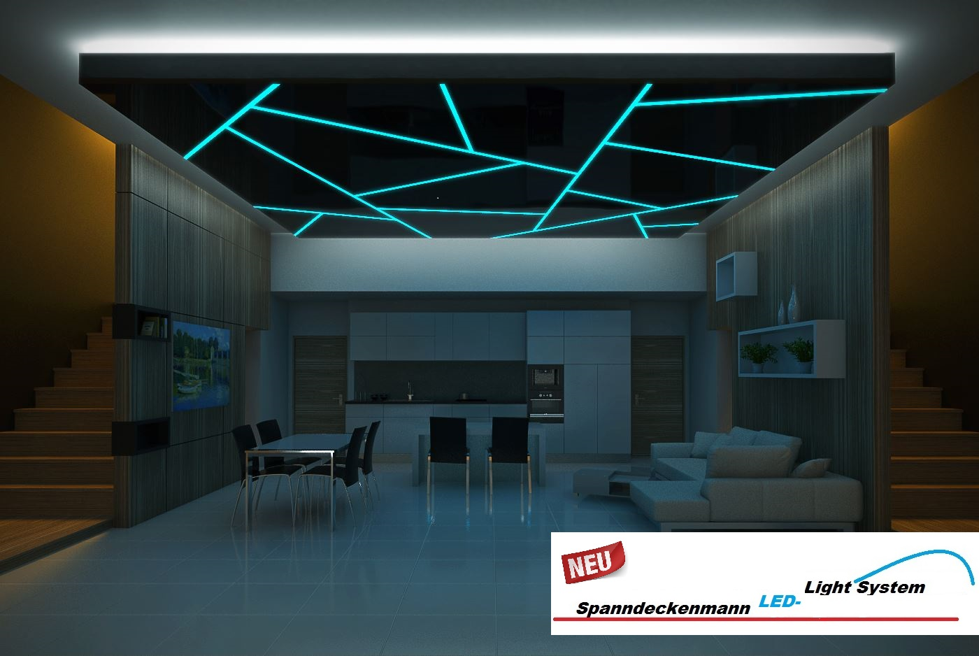led light system spanndeckenmann. Black Bedroom Furniture Sets. Home Design Ideas
